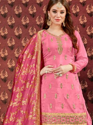 Pink Zari Viscose Designer Patiala Suit