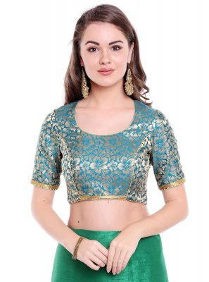 Plain Art Banarasi Silk Designer Blouse in Green