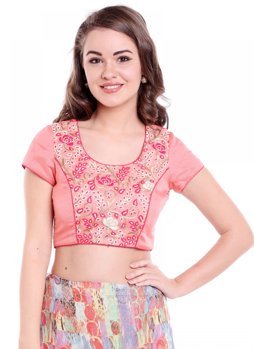 Plain Art Banarasi Silk Designer Blouse in Peach