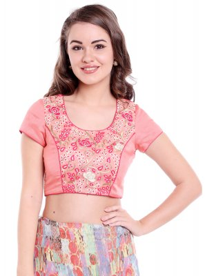 Plain Art Banarasi Silk Designer Blouse in Peach