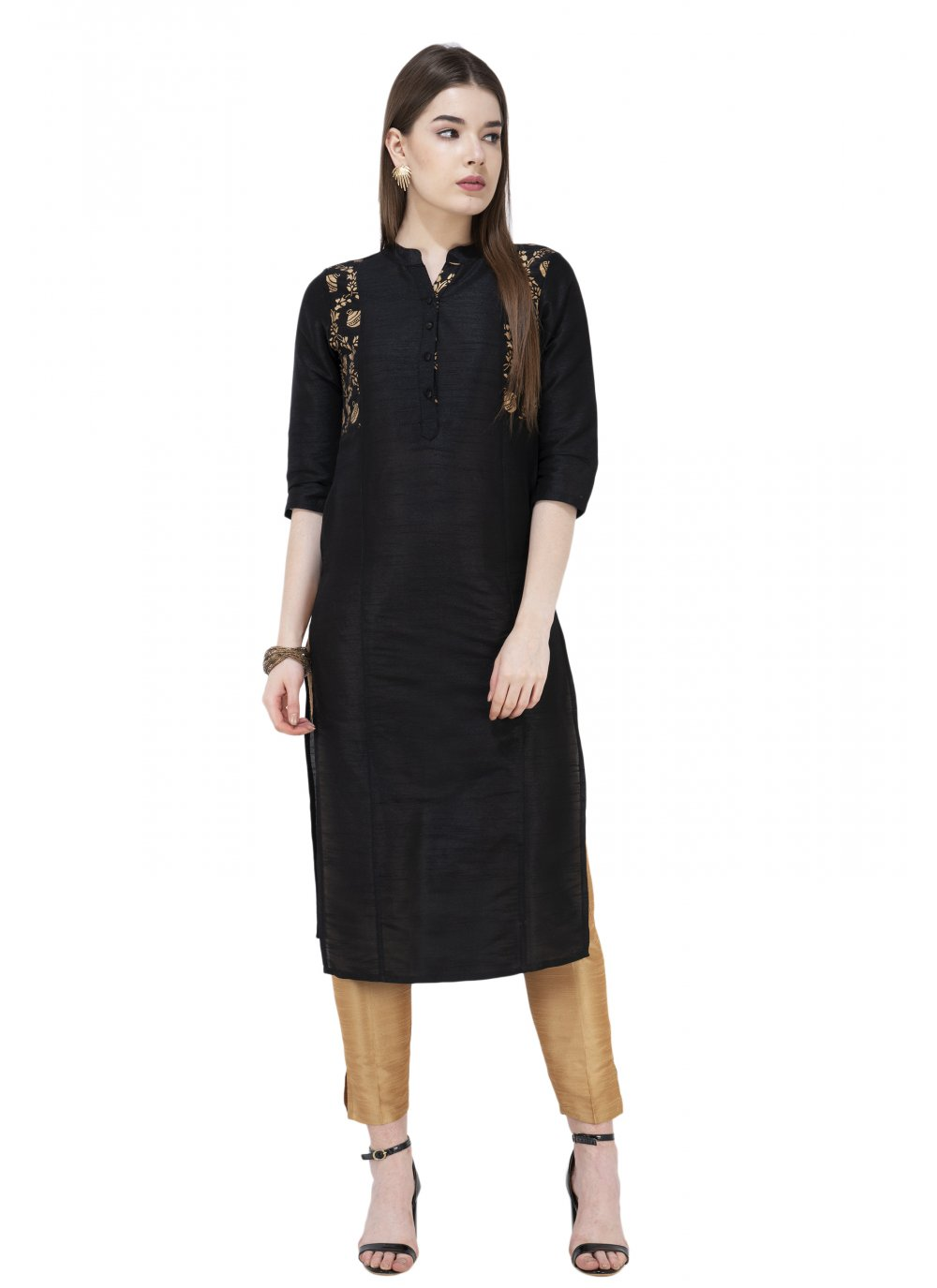 Plain Black Art Dupion Silk Casual Kurti