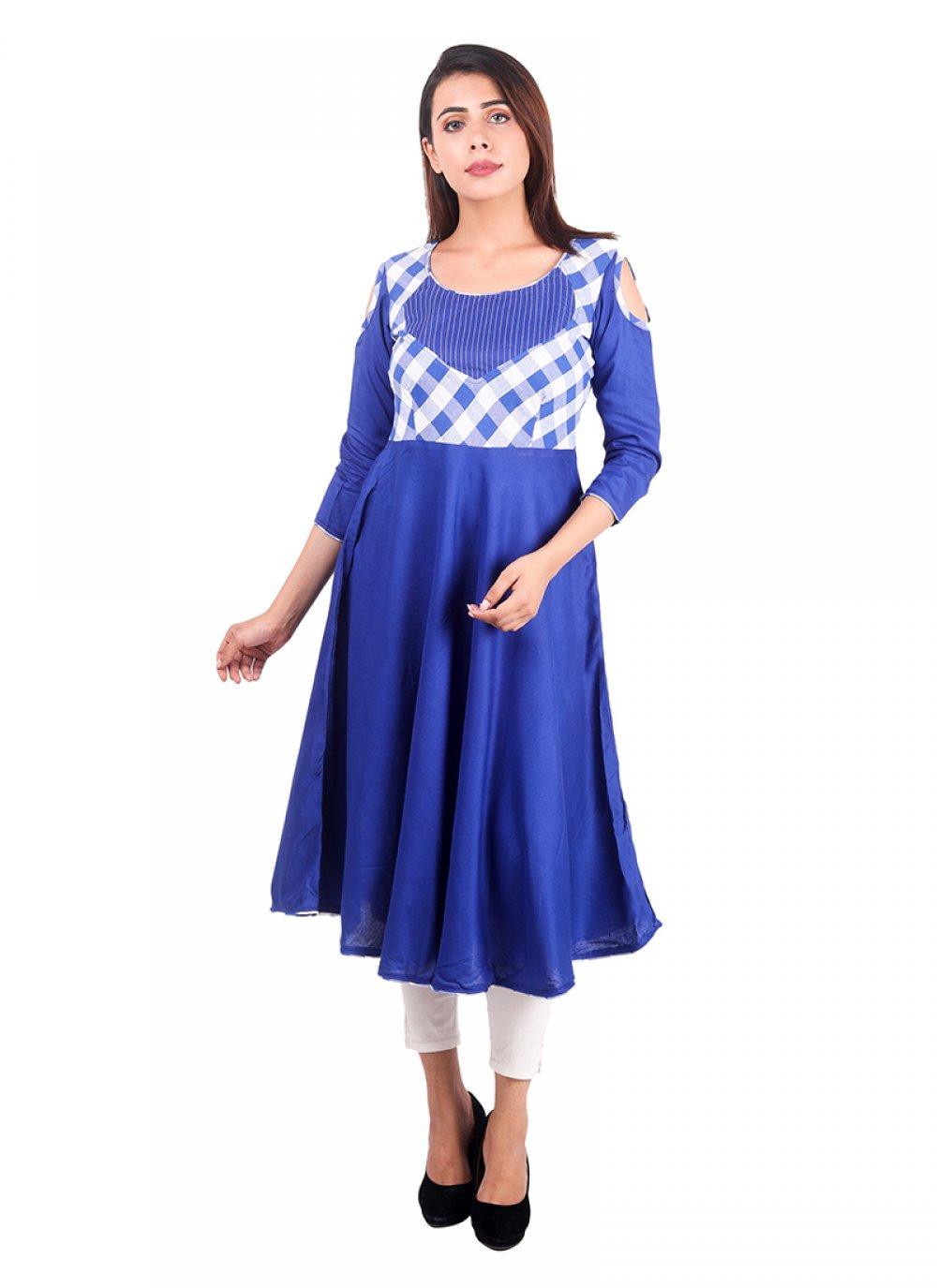 Plain Blue Designer Kurti