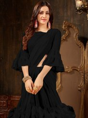 Plain Black Faux Georgette Designer Saree