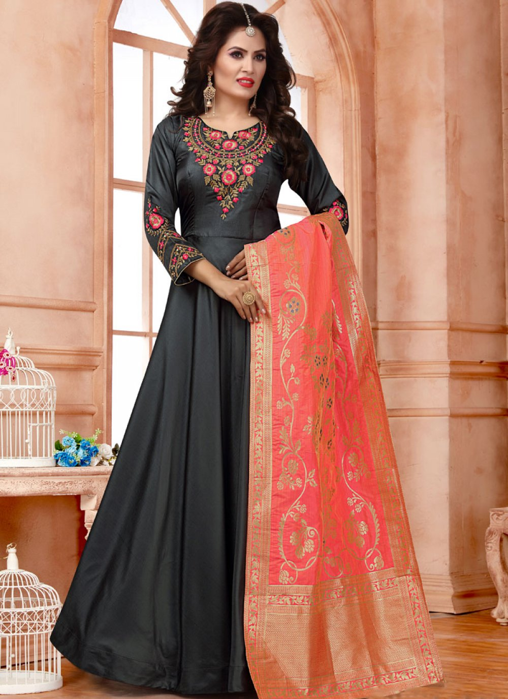Plain Black Tafeta Silk Trendy Anarkali Salwar Suit