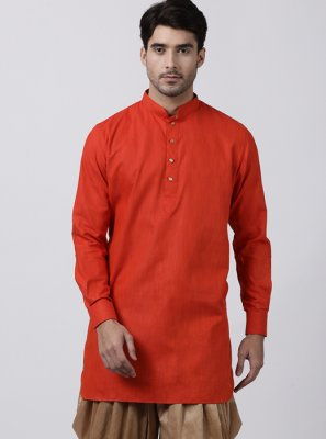 Plain Blended Cotton Dhoti Kurta in Red