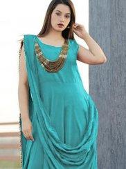 Plain Blue Rayon Designer Gown