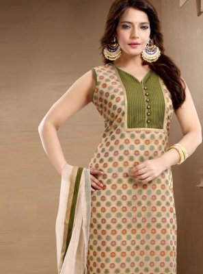 Plain Brown Banglori Silk Churidar Salwar Suit
