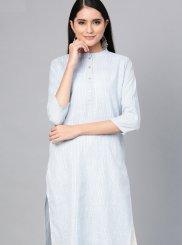 Plain Cotton Casual Kurti in Blue