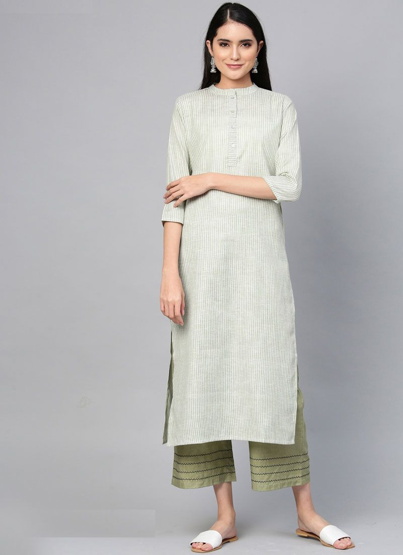 Plain Cotton Casual Kurti in Blue