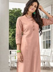 Plain Cotton Casual Kurti in Peach