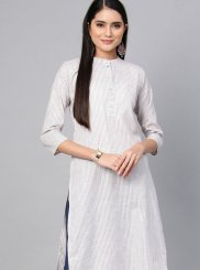 Plain Cotton Casual Kurti in White