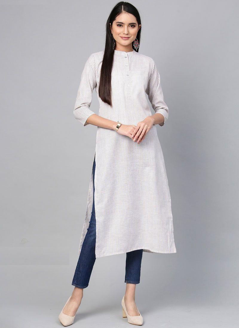 Plain Cotton Casual Kurti in White