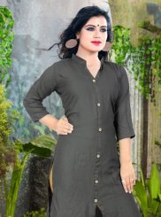 Plain Cotton Grey Casual Kurti