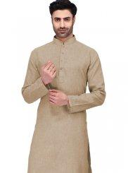 Plain Cotton Kurta Pyjama in Beige