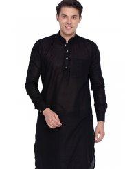 Plain Cotton Kurta Pyjama in Black