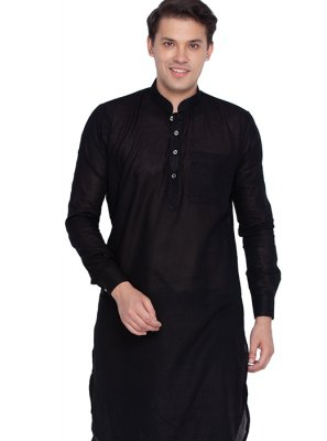 Plain Cotton Kurta Pyjama in Black
