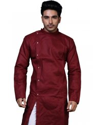 Plain Cotton Kurta Pyjama in Maroon