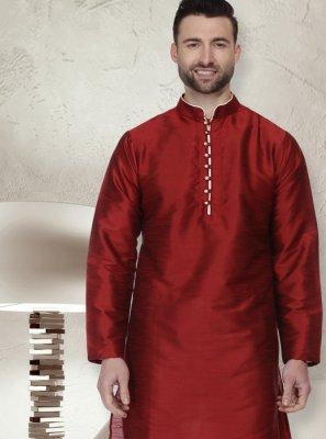 Plain Dupion Silk Kurta Pyjama in Maroon