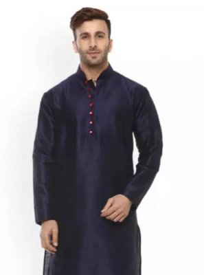 Plain Dupion Silk Kurta Pyjama in Navy Blue