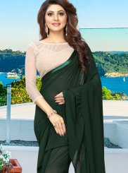 Plain Faux Georgette Green Casual Saree