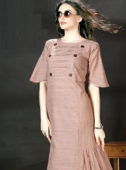 Plain Lavender Party Wear Kurti