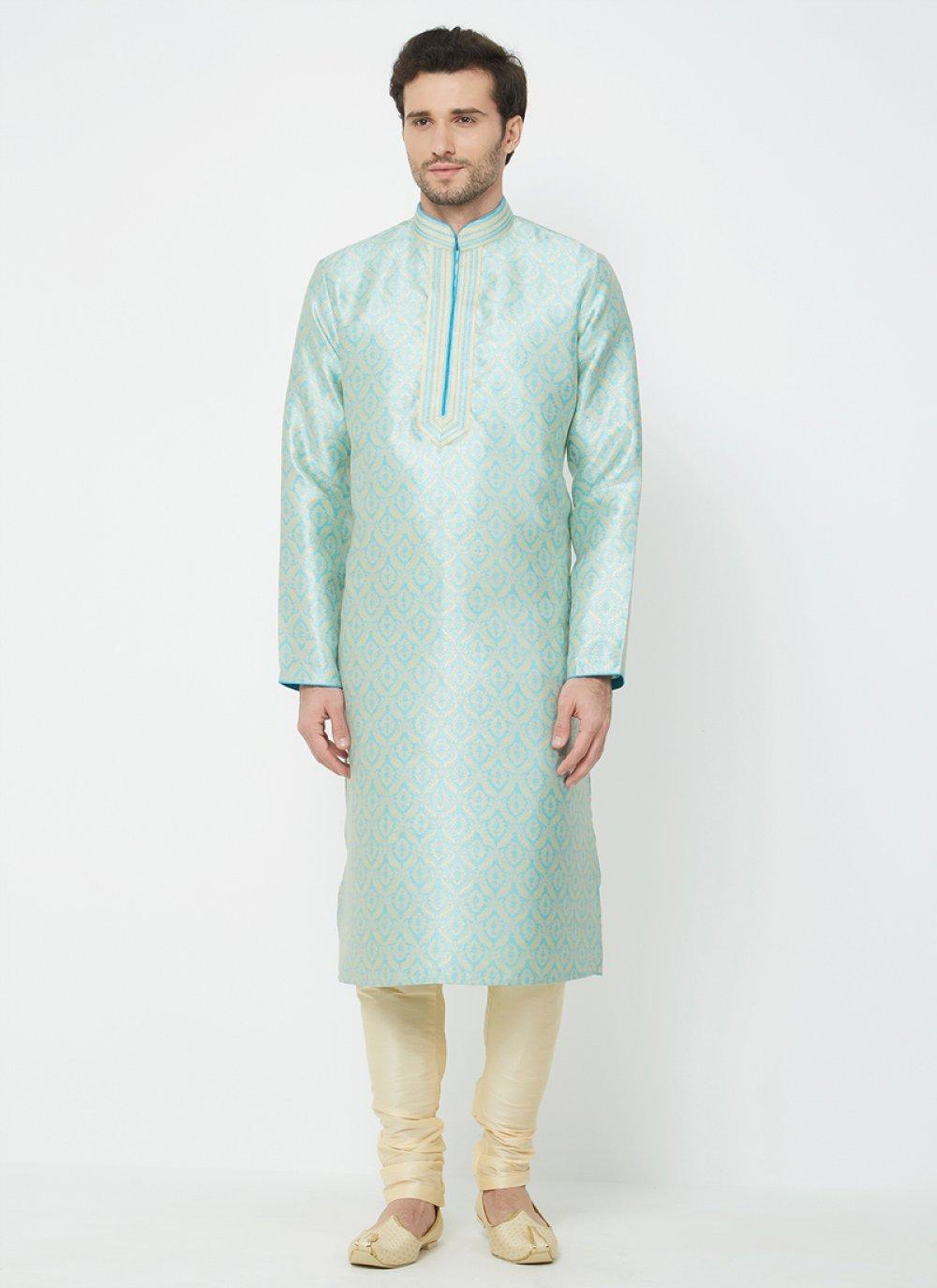Plain Linen Kurta Pyjama in Blue