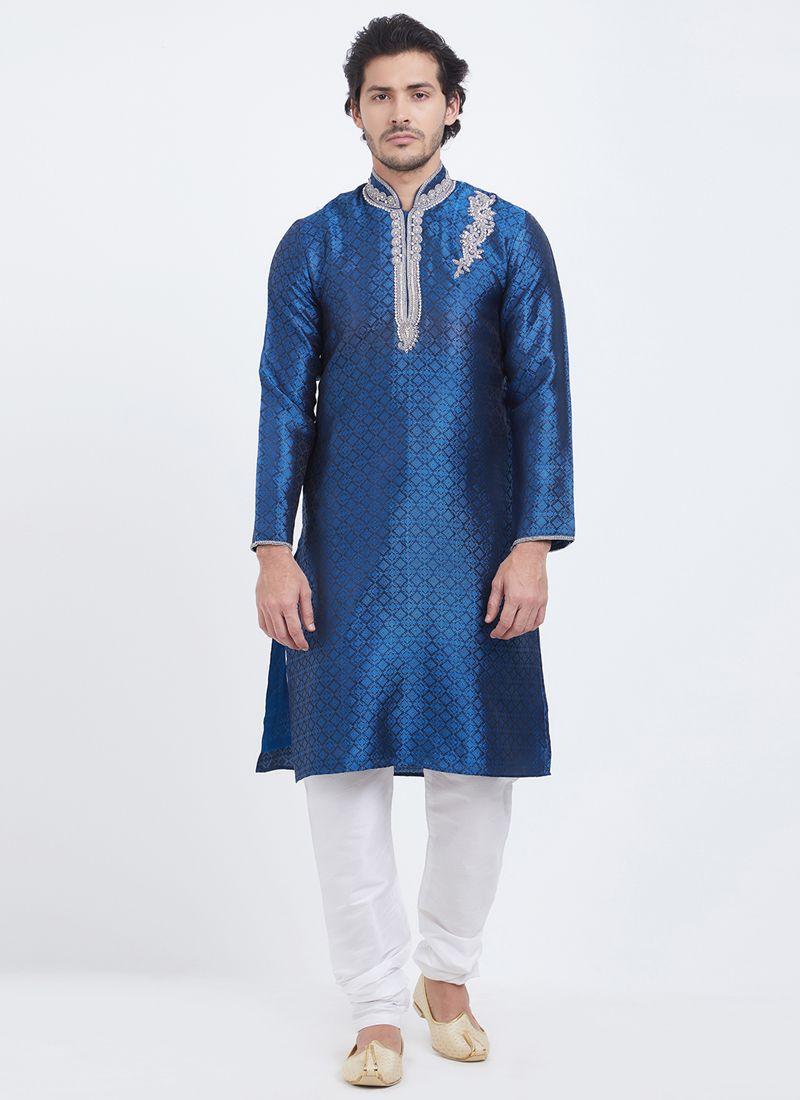 Plain Linen Kurta Pyjama in Navy Blue
