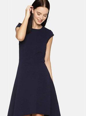 Plain Navy Blue Rayon Designer Kurti