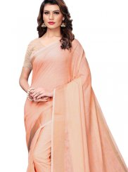 Plain Peach Casual Saree