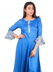 Plain Raw Silk Casual Kurti in Turquoise