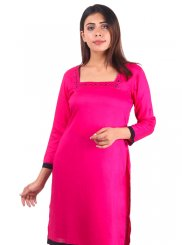 Plain Rayon Casual Kurti in Pink
