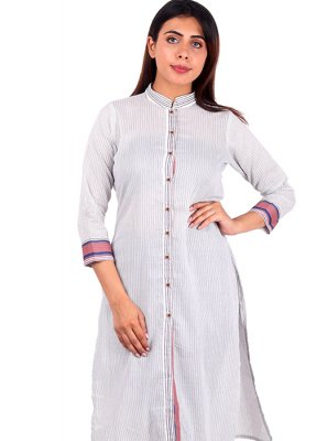 Plain Rayon Casual Kurti in White