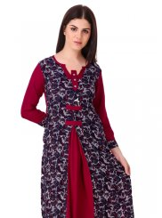 Plain Rayon Casual Kurti in Wine