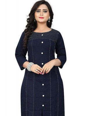 Plain Rayon Designer Kurti in Blue