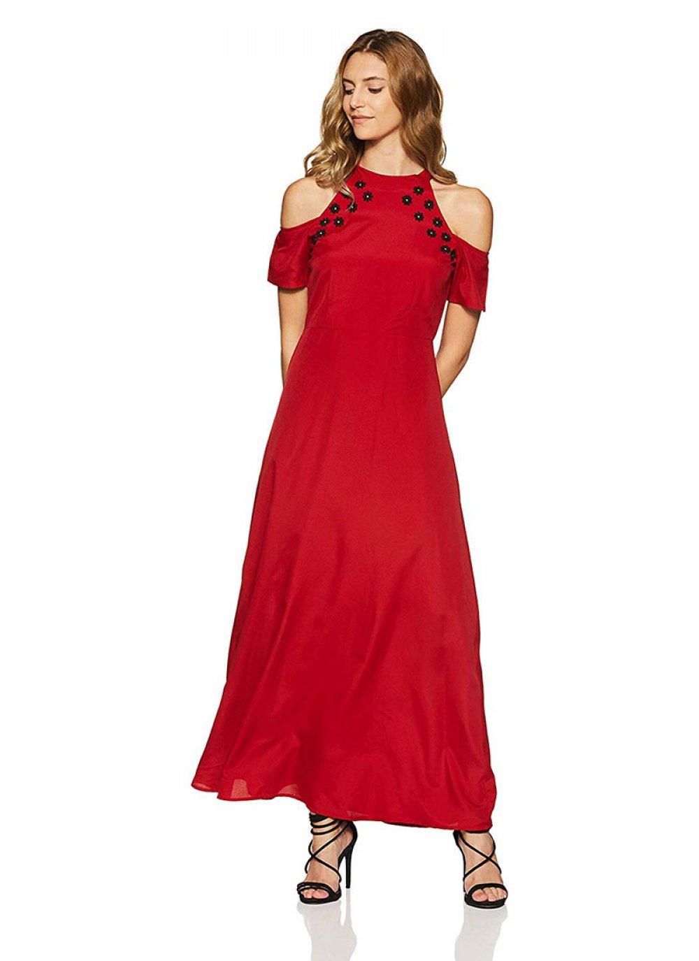 Plain Rayon Designer Kurti in Red