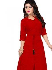 Plain Red Designer Kurti