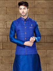 Plain Work Art Dupion Silk Blue Kurta Pyjama
