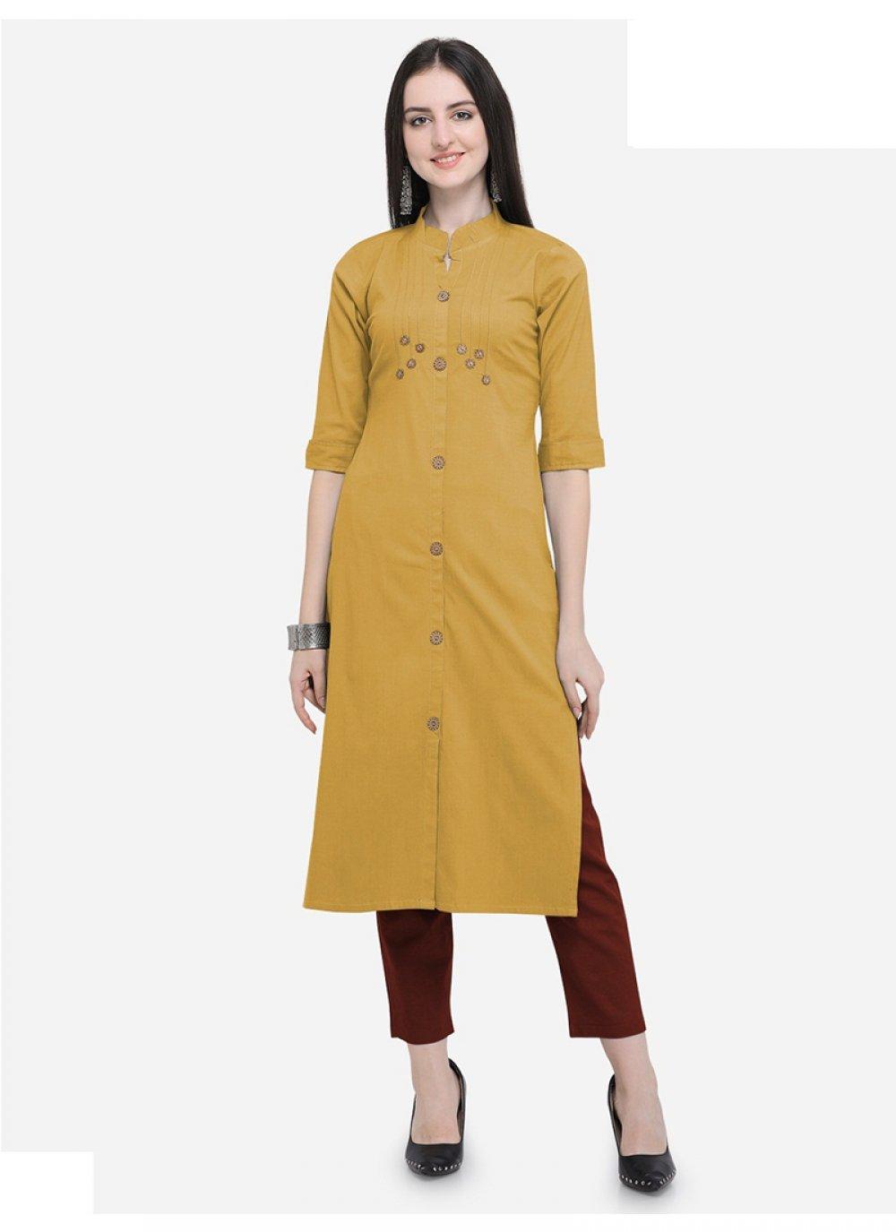 Plain Yellow Cotton Party Wear Kurti