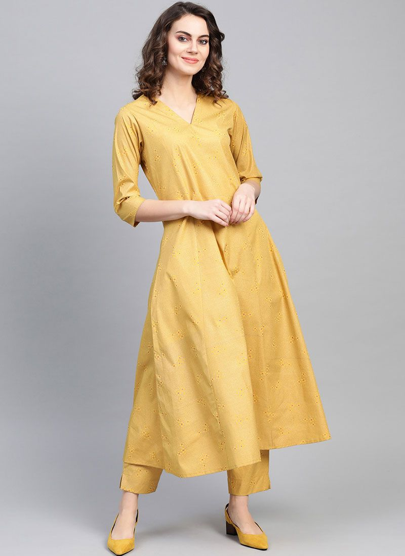Plain Yellow Faux Crepe Party Wear Kurti
