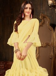Plain Yellow Faux Georgette Designer Saree