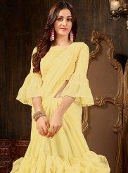 Plain Yellow Faux Georgette Designer Saree