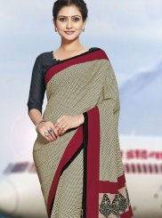 Polly Cotton Beige Printed Casual Saree