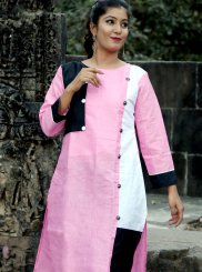 Polly Cotton Casual Kurti in Pink