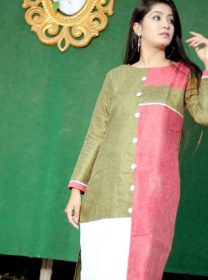 Polly Cotton Fancy Multi Colour Casual Kurti