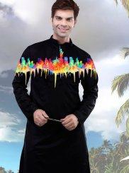 Poly Cotton Black Digital Print Kurta Pyjama