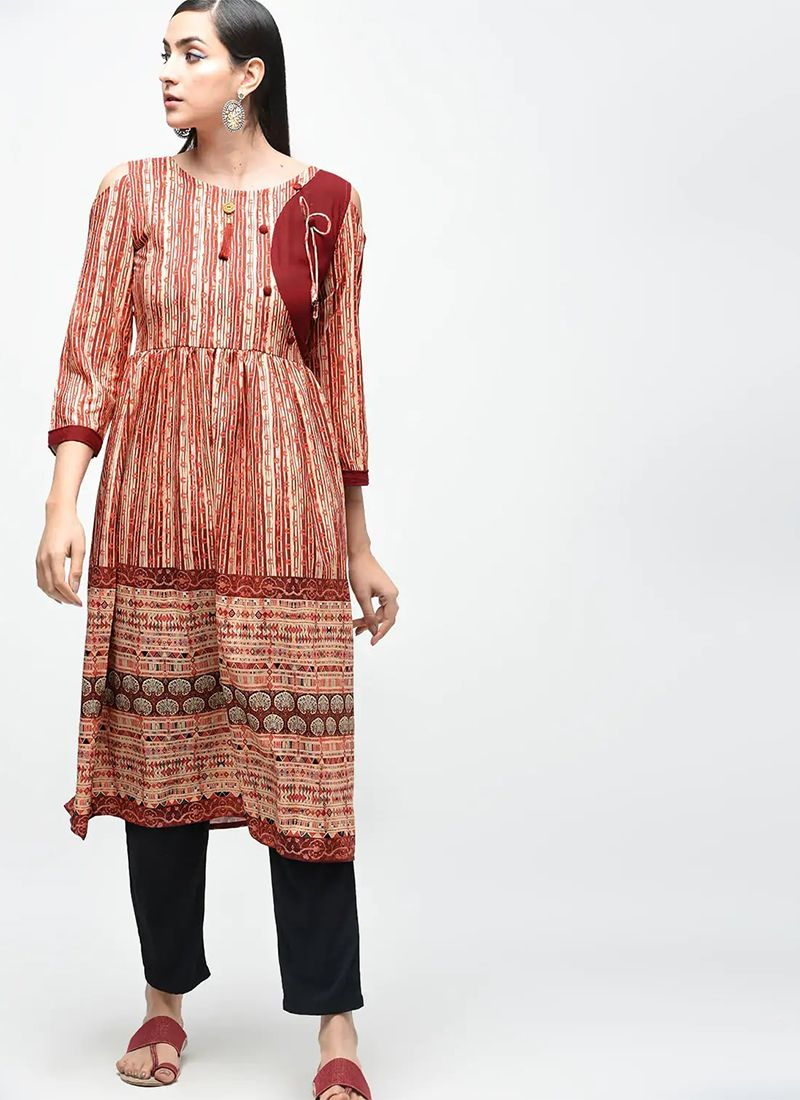 Poly Cotton Brown Fancy Party Wear Kurti