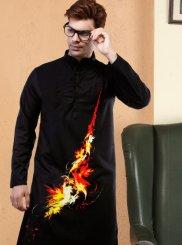 Poly Cotton Digital Print Black Kurta Pyjama