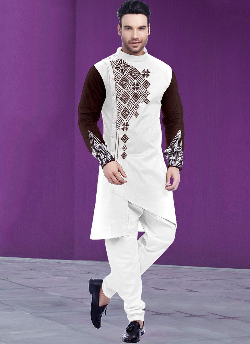 Poly Cotton Digital Print Kurta Pyjama in Brown and White