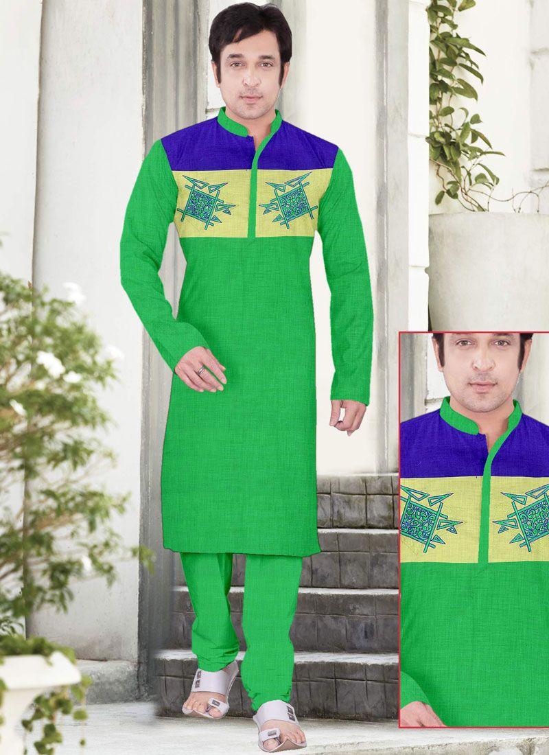 Poly Cotton Embroidered Green Kurta Pyjama