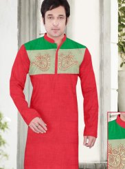 Poly Cotton Embroidered Kurta Pyjama in Red